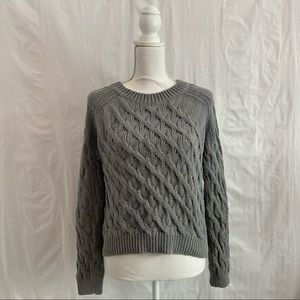 Inhabit Gray Cropped Cable Knit Sweater